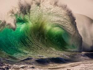 Gran ola verdosa
