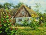 Pintura de una casita linda con flores en el jardín