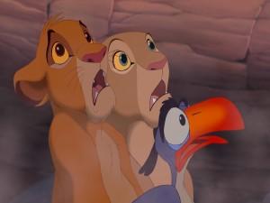 Simba, Nala y Zazú asustados (El Rey León)