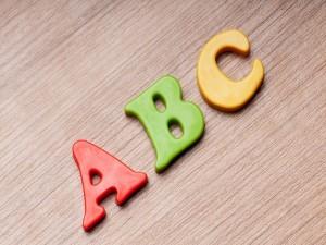 Letras a, b y c de colores
