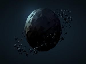 Planeta pequeño con varios meteoros orbitando a su alrededor