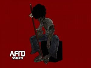 Afro sentado sobre una caja negra (Afro Samurai)