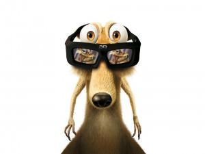 Scrat con unas gafas 3D (Ice Age)