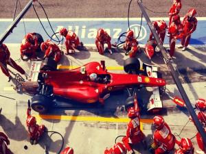 Ferrari en el pit stop