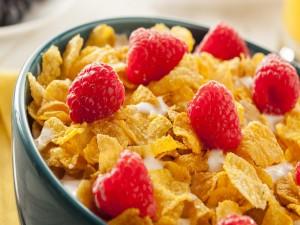 Cereales con frambuesas
