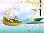 Barca llena de flores
