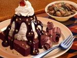 Postre de chocolate y frutos secos