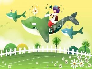 Viajando sobre una ballena