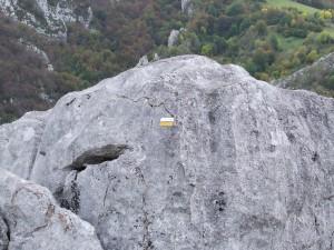 Señal de ruta blanca y amarilla en una roca