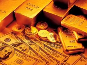 Billetes, monedas y lingotes de oro