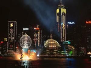 Edificios iluminados de Hong Kong