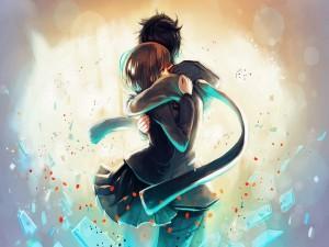 Pareja anime abrazada