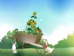 Dos animales junto a una carretilla con flores