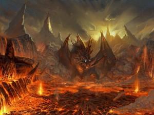 Gran dragón entre montañas y lava
