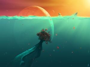 Árbol sumergido en el océano