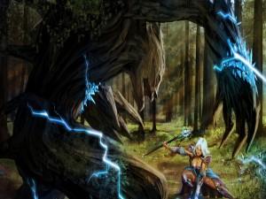 Maga congelando al monstruo del bosque
