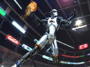 Robot jugando al baloncesto