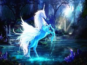 La belleza misteriosa de un unicornio alado