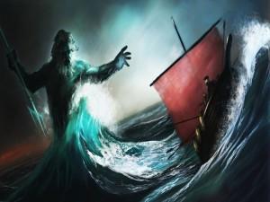 Neptuno luchando contra un barco