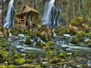 Molino y cascadas junto al río