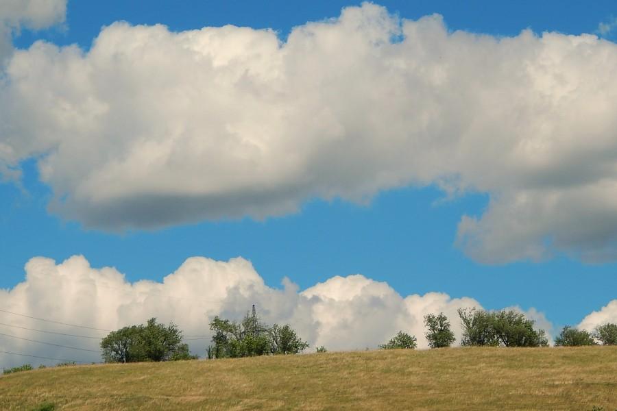 Campo bajo un cielo con nubes