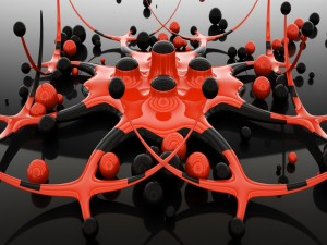 Escultura en tercera dimensión rodeada de esferas