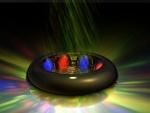 Esferas en un anillo con luces y colores resplandecientes