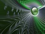 Esfera de color verde rodeada de fractales