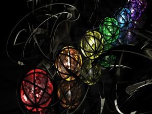 Esferas de varios colores envueltas en franjas negras