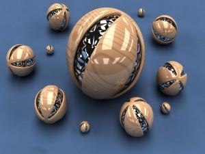 Esferas de metal cubiertas de madera