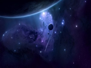 Nebulosa rodeada de estrellas y planetas