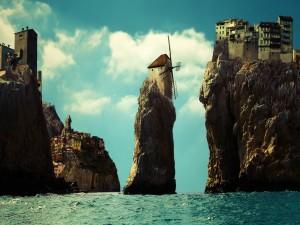 Ciudad construida en la cumbre de unos riscos en el mar