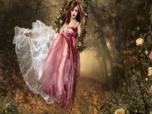 Mujer meciéndose en un columpio con un vestido rosa