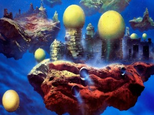 Edificios flotando sobre islas espaciales