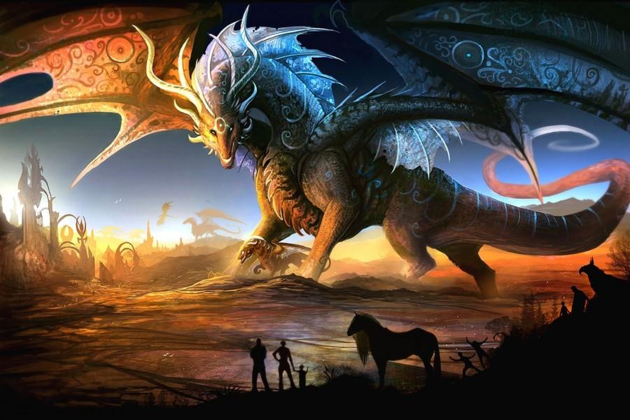 Gigantesco dragón protegiendo a su cría