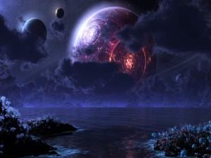 Planetas flotando sobre un lago