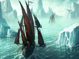 Barcos navegando entre icebergs