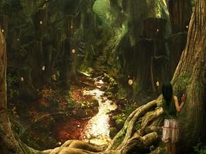 Mujer observando un camino que se dirige hacia la espesura del bosque
