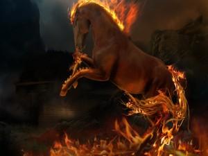 Caballo con las crines en llamas