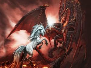 Combate entre un unicornio y un dragón