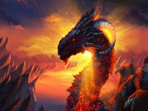 Dragón emergiendo de las profundidades