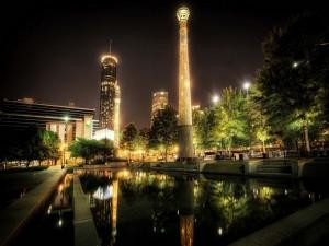 Noche en el Centennial Olympic Park (Atlanta)