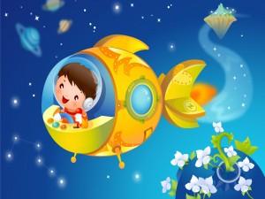 Niño viajando en una nave espacial