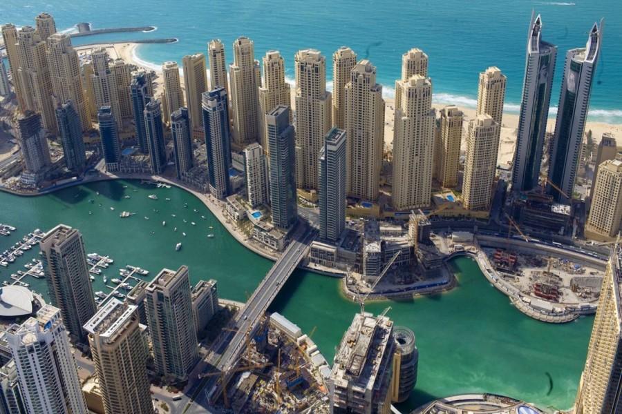 Rascacielos de Dubái vistos desde el aire
