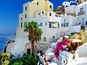 Casas en una ciudad griega