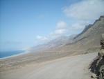 Vista lejana de la playa El Cofete (Fuerteventura)