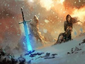 Mujer guerrera sobre la nieve