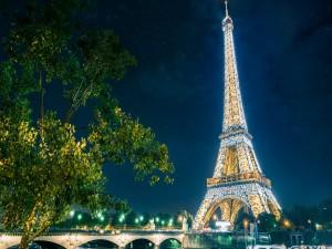 Torre Eiffel iluminada en una noche estrellada