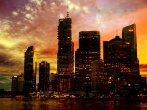 Colores en el cielo de una ciudad