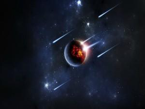 Meteoros destruyendo un planeta